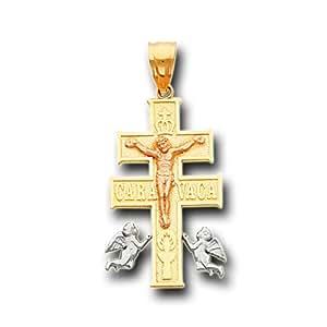 14K Yellow 3 Color Gold Caravaca Cross Crucifix Pendant