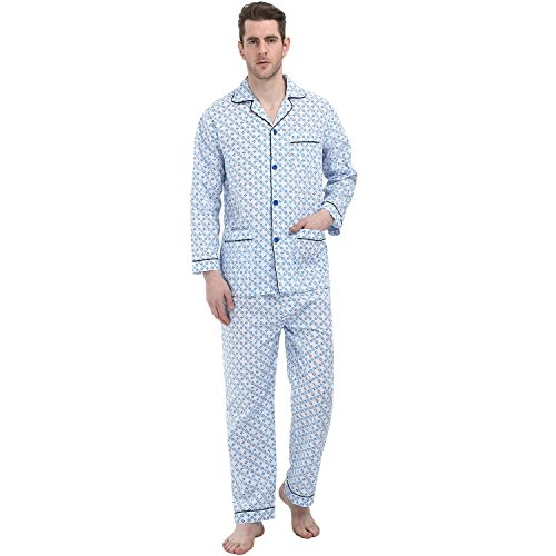 GLOBAL Classic Pj Set for Men, 2 Piece Drawstring Pajama Set of Top and Pants/Bottoms Soft Durable Cotton