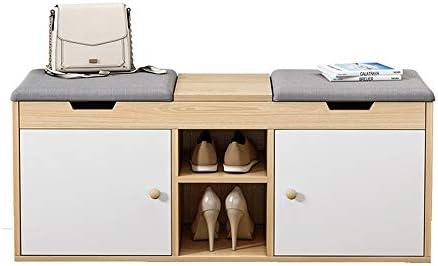 玄関ベンチ スツール 収納ベンチ 靴収納 ベンチ 二つのオープン棚付きのモダンな現代的な木の靴ストレージパッド入り座席ベンチ エントランスベンチ 省スペース (色 : A, サイズ : 108x34x45cm)