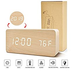 BlaCOG Digital Alarm Clock, Adjustable Brightness Voice Control Wooden Alarm Clocks for Bedrooms, Display Time Temperature Date and USB Battery Powered, Bamboo Clock