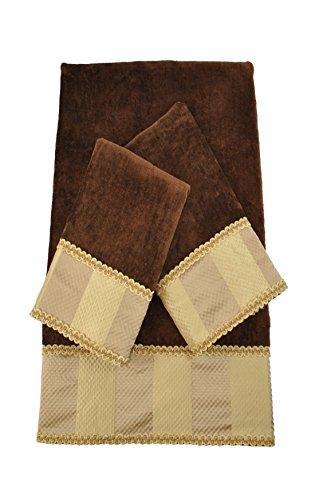 Ausin Horn Classics Austin Horn Classics Genevieve Stripe Brown Luxury Embellished Decorative Towel Set,Brown