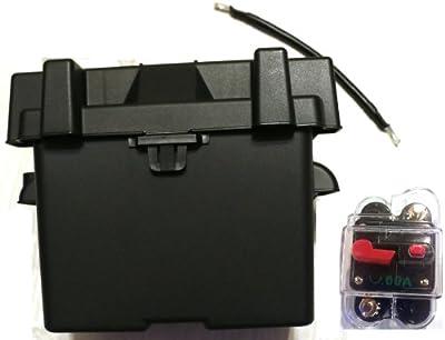 "Trolling Motor Battery Box Boat Kit: Marine Grade Group 24 Battery Box + 9"" Cable + 60 Amp Circuit Breaker. Marine Grade Battery Box Kit ideal for boats and 18-55lb, MinnKota, cobra, sevylor and other trolling motor batteries."