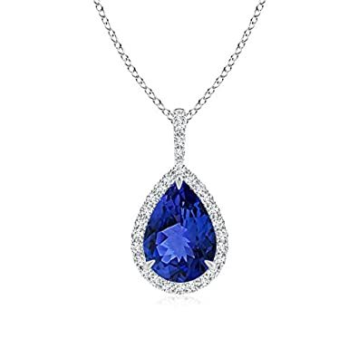 Angara Natural Pear Shaped Tanzanite Necklace in 14k White Gold CoMCFC