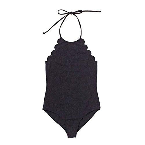 QIYUN.Z Las Mujeres De Verano Playa De Una Pieza Swimsuits Bandage Bodysuit Backless Bikini Negro