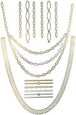 Tattoo etiqueta Collar Metálico joyas oro y plata para la piel Una ...