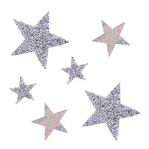 (PandaHall Elite 6 pcs 3 Sizes Star Crystal Glitter Rhinestone Stickers Iron on Stickers Bling Star Patches for Dress Home Decoration)