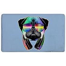 """Candy House Indoor Super Absorbs Mud DJ Pug Dog With Headphones Sunglasses Doormat For Front Door Inside Floor Dirt Mats Non-Slip Entrance Rug 23.6""""x 15.7"""""""