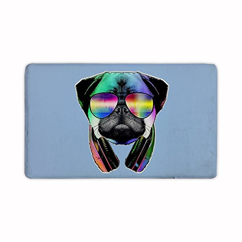 Candy House Indoor Super Absorbs Mud DJ Pug Dog With Headphones Sunglasses Doormat For Front Door Inside Floor Dirt Mats Non-Slip Entrance Rug 23.6