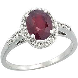 10K White Gold Diamond Natural Enhanced Ruby Ring Oval 8x6mm, sizes 5-10