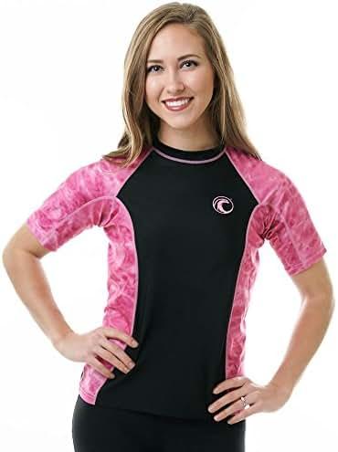 Aqua Design Rash Guard Shirt Women: UV UPF 50+ Short Sleeve Swim Shirts Surf Top