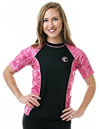 Aqua Design Women's Big Wave Rash Guard UPF 50+ Comfort Fit Swim Rashie Shirt, Pink Water, Size XS