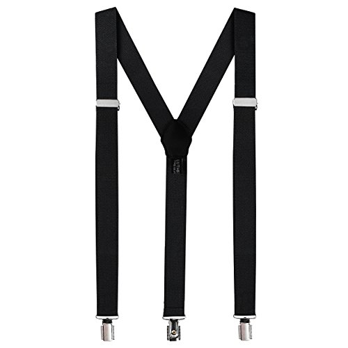 Fashion Mens Black Suspenders With Clips - Pant Clip Style Tuxedo Braces For Men Clothes Accessory with Elastic, Y Back Design