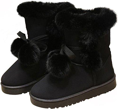 Ppxid Vrouwen Mooie Pompon Pluche Lace Up Winter Enkel Snowboots Zwart