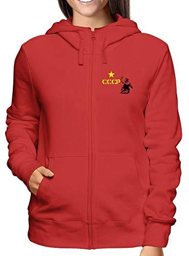 Falce Cccp Rossa Donna Zip Comunismo E Martello Felpa Tco0041 shirtshock T Cappuccio xwq4BzY