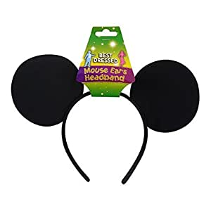 Felt Mouse Ears On Headband in Black (FDPS) (accesorio de disfraz)