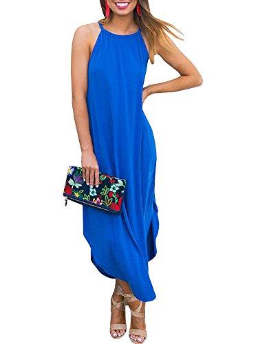 Beautife Womens Summer Sleeveless Halter Maxi Dress Casual Loose Fit Plain Long Dresses