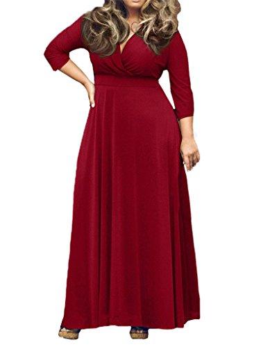 Rosso Donna Di Lunga A Vestito Più Scollo Maxi Sera Del V shopping Manica Partito 365 Con Formato xwaCq