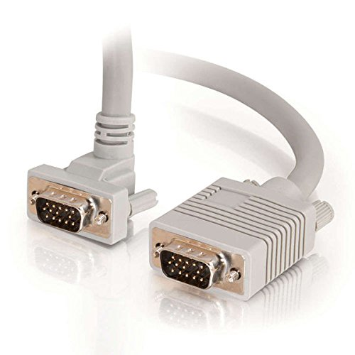 C2G 52001 VGA Cable - Premium Shielded HD15 SXGA M/M Monitor Cable with 90° Upward-Angled Male Connector, Gray (3 Feet, 0.91 ()