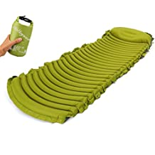 Holleyweb Inflatable Camping Sleeping Pad for Backpackers, w/Built-in Pillow and Dry Bag