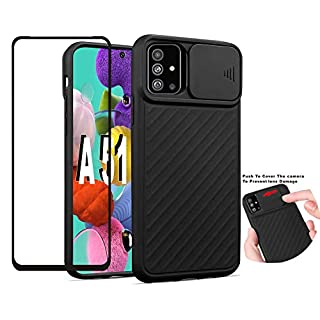 """Folmeikat Samsung Galaxy A51 4G /M40S Screen Protector Protective Phone Shockproof Soft TPU,with Camera Cover, Protective with Slide Camera Cover Case (2020) 6.5"""" (Black)"""