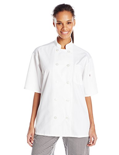Uncommon Threads Unisex Delray Chef Coat With Mesh Short Sleeve 5.25, White, Large