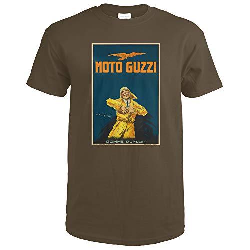 Italy - Moto Guzzi - (artist: Giorgio Muggiani c. 1917) - Vintage Advertisement 64062 (Dark Chocolate T-Shirt X-Large)