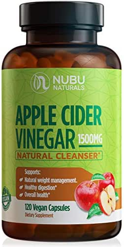 Raw Apple Cider Vinegar Capsules - All Natural (1500mg   120 Vegan Pills) Weight Loss, Detox, Cleanse & Diet Support - Pure Extract, Fast Extra Strength Keto Fat Burner for Women & Men, ACV