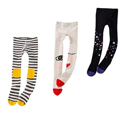 (Baby Tights Toddler Girls Cute Knit Leggings Pantyhose Cotton Pants Stockings 1-8Y (M(3-5 Years), 3pcs(black dot & knee stripe & red eyes)))