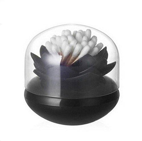 Bloss Cotton Swab Holder Cute Lotus Q-Tips Storage Organizer Bathroom Decorative Organizer, Black