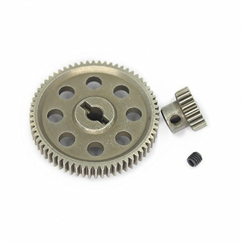 Hobbypark 11184 Steel Diff Differential Main Metal Spur Gear 64T &11119 Motor Gear 17T RC Replacement Parts for Redcat HSP 1/10 Monster Truck (Metal Differential Gear)