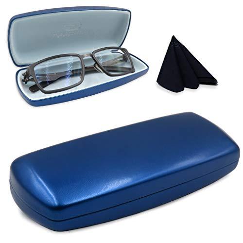 MyEyeglassCase Mens Hard Eyeglass case with Microfiber Cleaning Cloth Boys Blue Eyeglass case fits Medium Size Frames Metal Clam shell | AS302 Blue