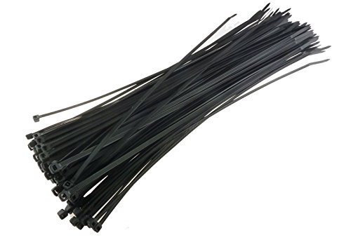 """100 PCS Pack 12"""" inch Black Network Cable Cord Wire Tie Strap 60 Lbs Zip Nylon from Audiotek"""