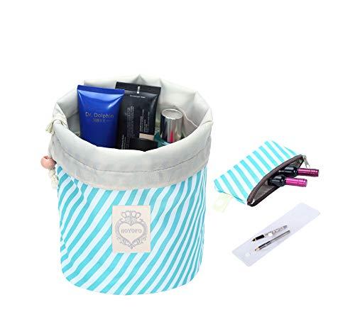 HOYOFO Travel Drawstring Bags Cosmetics Makeup Bags Barrel Toiletry Bag Quick Packing Storage Organizer, Blue Stripe