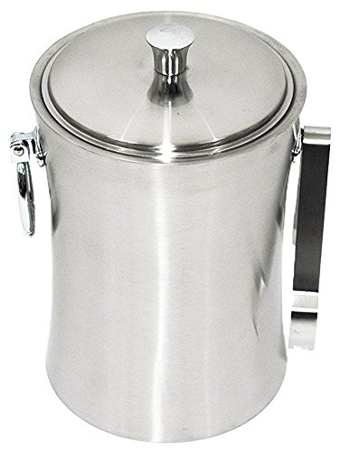 Elm Cove Stainless Steel Ice Bucket – Set with Lid and Tongs – Premium Quality with Double Insulation – Keeps Ice From Melting, Perfect for Parties (Monogram Ice Bucket)