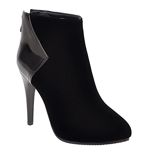 Carolbar Womens Sexy Zip Pointed Toe Chic Stiletto Heel Ankle Boots Black SCNJSSn
