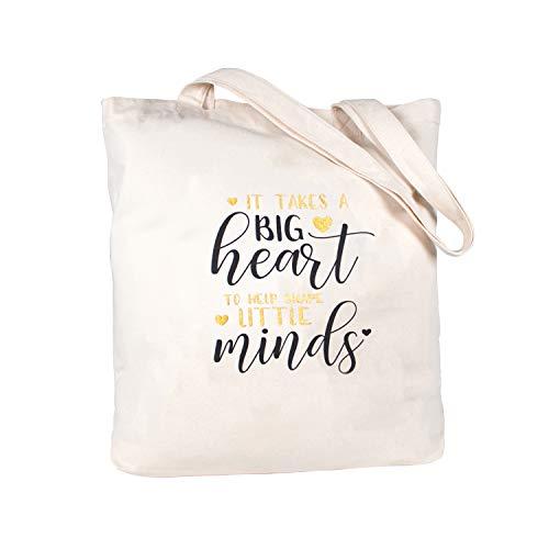 ElegantPark Teacher Appreciation Gifts Teacher Gifts Canvas Teacher Bag and Tote with Pocket 100% Cotton Teacher Tote Bag Glitter