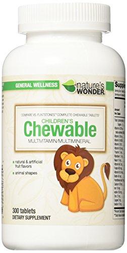 Nature's Wonder Child Chewable Complete Multivitamin, 300 Count, Compare vs. Flintstones® Complete Chewable Tablets