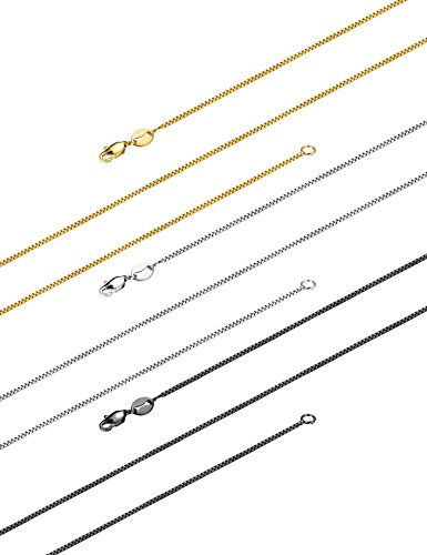 LOLIAS 3 Pcs 1MM Stainless Steel Box Chain Necklace for Women Thin Necklace, 18IN-30IN