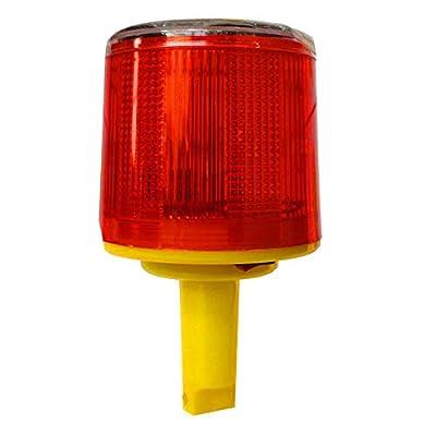 DE-Spark Emergency LED Solar Powered Red Strobe Warning Light, Road Construction Cone Traffic Light Flicker Beacon Lamp