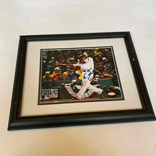(Manny Ramirez Signed 2007 World Series Framed Photo Steiner COA Boston Red)