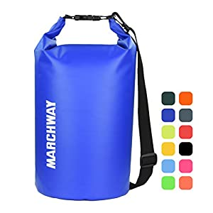 MARCHWAY Floating Waterproof Dry Bag 5L/10L/20L/30L/40L, Roll Top Sack Keeps Gear Dry for Kayaking, Rafting, Boating, Swimming, Camping, Hiking, Beach, Fishing (Dark Blue, 5L)