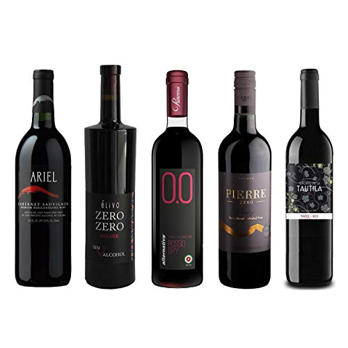 Red Wine Sampler - Five (5) Non-Alcoholic Wines 750ml Each - Featuring Ariel Cabernet Sauvignon, Zero Deluxe Red, Rosso Dry, Prestige Merlot Rouge, and Tautila Tinto
