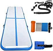 Allkpoper Inflatable Gymnastic Air Mat Tumbling Mat with Pump Air Floor for Home Use 10 x 3.3 ft