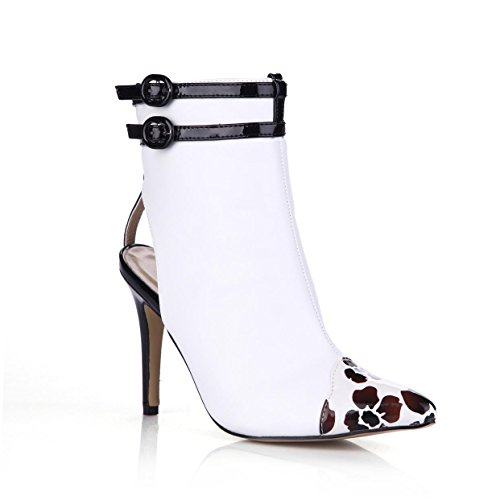 a Premium cerniera bianche punta 7 alto con Sandali in 9 PU Scarpe Pompe Punta estivi CM gomma donna Best 4U® Tacco RF4B00
