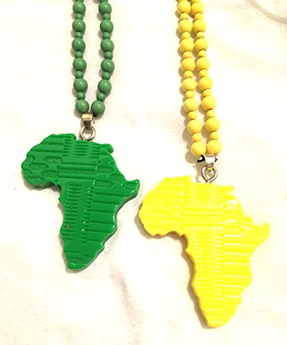 African pride 2pc Limited edition Hand made Green  Yellow 2pc Set AFRICA pendent and beads necklace , African pride pendant / necklace
