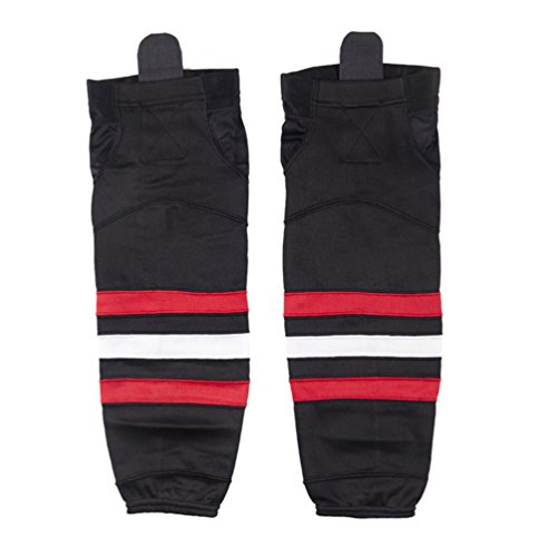 COLDINDOOR Black Hockey Socks, Kids Youth Protective Knit Velcro Ice Hockey Socks Dry Fit XS