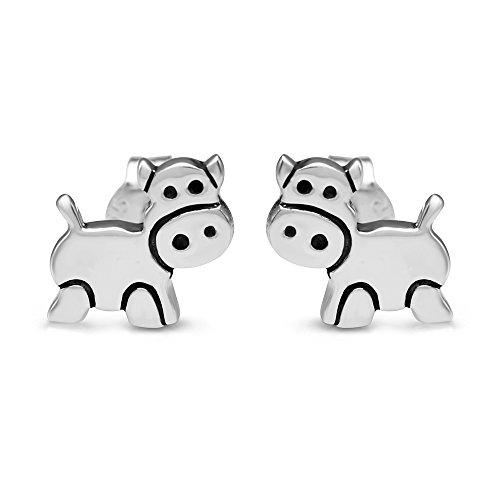 925 Sterling Silver 10 mm Little Cow Cartoon Animal Post Stud Earrings