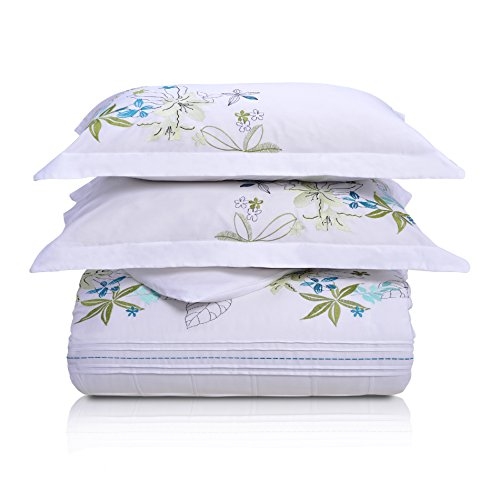 Superior Spring Blooms 100% Premium Cotton Twill Fabric Full/Queen Embroidered Duvet Set by Superior (Image #5)