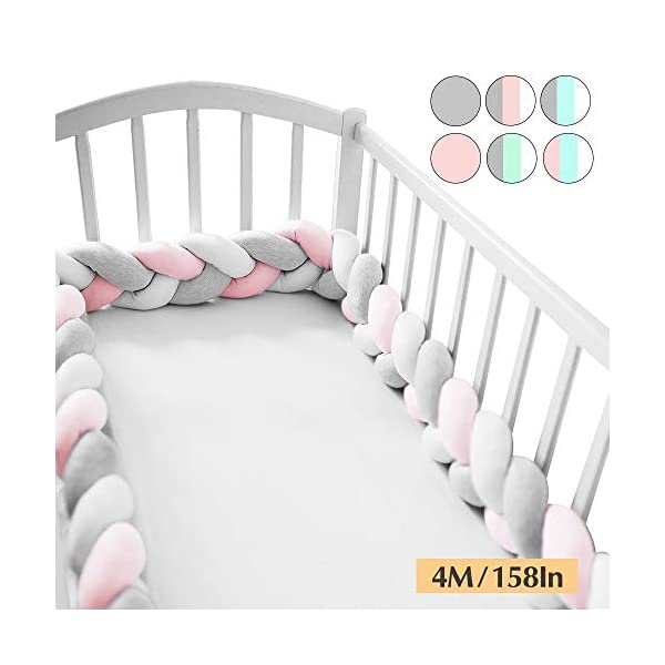 Wonder Space Soft Knot Plush Pillow – Baby Crib Bumper, Fashion Nursery Cradle Decor for Baby Toddler and Childern (Pink/Grey/White, 158IN / 4M)