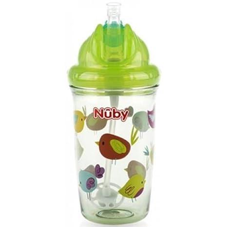 Nuby Flip It - Taza infantil con pajita de silicona (12 – 18 m,